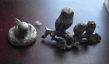 """Lot of 2 Small Pewter Animal Figurines Bird on Nest and Three Owls 1"""" Tall"""