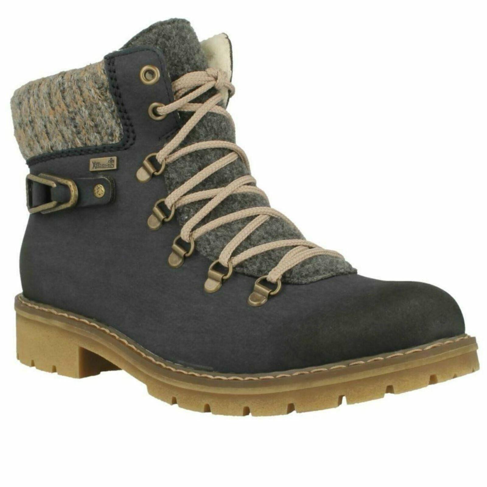 Damen Rieker Schnürer Freizeit Pelzfutter Warm Winter Bequem Stiefel Schuhe Y9131