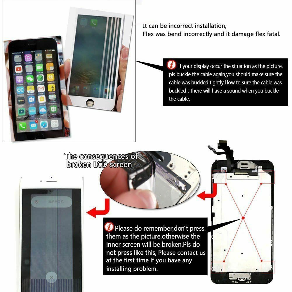 For iPhone 6S 8 6 7 Plus LCD Dispaly Touch Screen Complete Replacement + Button 4