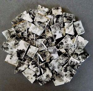 55 SOFT BLACK ROSES ON WHITE CHINTZ MOSAIC TILES GOLD RIMS