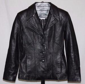 Jacket gratuita S Black Style Button 4 Leather Blazer Size Spedizione Women Wilsons w04qZS6xRn