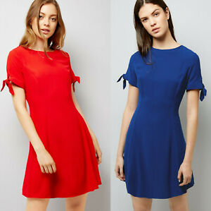 New-Look-Womens-Red-amp-Blue-Tie-Sleeve-Mini-Casual-Summer-Day-Dress-Size-10-to-18