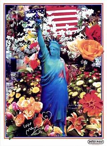 PETER-MAX-POSTER-LIBERTY-FLOWERS-COOL-AND-COLORFUL-FACSIMILE-SIGNED-CT