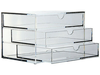 OSCO ACRYLIC 3 DRAWER DESK TIDY STORAGE UNIT - NEW - FREE 24 H COURIER