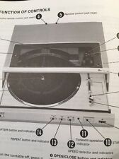 """Sony PS-FL3 Turntable """"Original"""" Owners Manual 16 Pages  psfl3 psfl3c"""