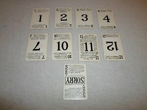 Part Only 19541958 Sorry Board Game Lot 9 Playing Card Missing