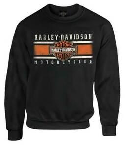Harley-Davidson-Men-039-s-Custom-Iconic-B-amp-S-Fleece-Pullover-Sweatshirt-Black