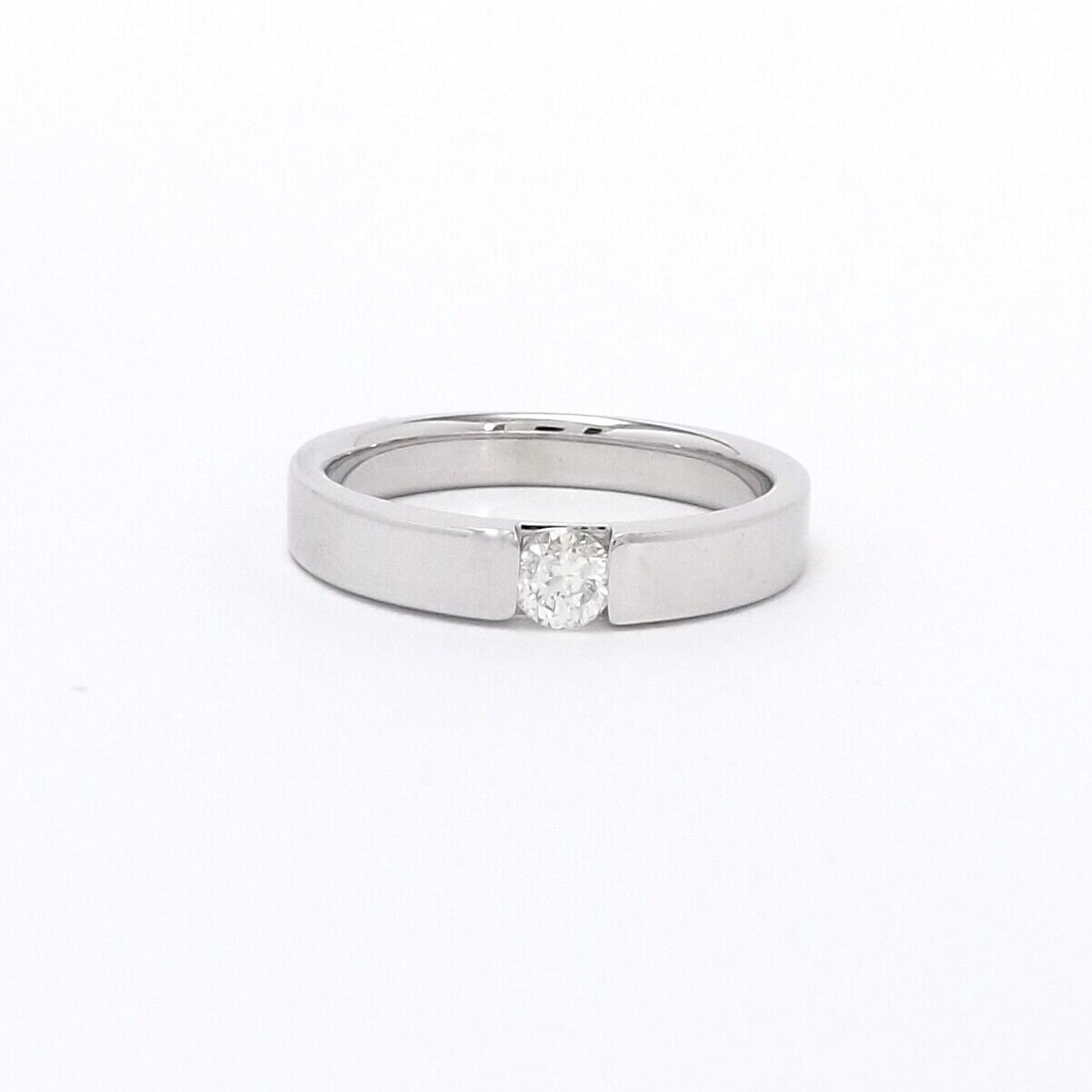 14k White Gold Solitaire Diamond Mens Unisex Mode… - image 1