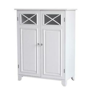 Dawson White Bathroom Floor Cabinet for Storage with Double Doors