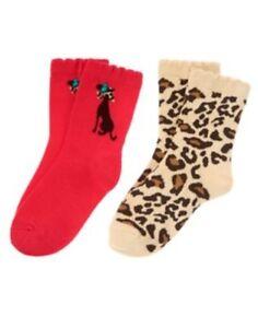 GYMBOREE-READY-DRESS-GO-LEOPARD-SKIN-N-CAT-2-pair-OF-GIRLS-SOCKS-3-4-5-7-8-9-10