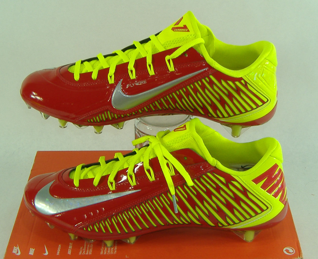 New Mens 13 NIKE Vapor Carbon ELT 2014 TD Red Volt Cleats Shoes    631425-607