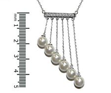 SEXY+FUN-Pave Bar 5CZ With Chained Pearls Rhodium Plated Necklace 16 to 18""