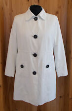 COTTON TRADERS off-white cream long sleeve black button trench coat jacket 16 44