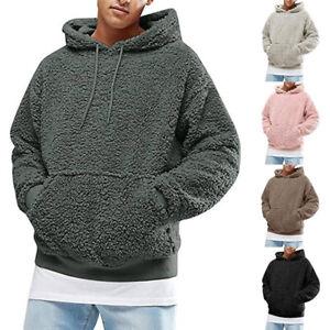 Men Plain Pullover Hoodie Thick Warm Sweatshirt Jumper Casual Sports Tops Blouse