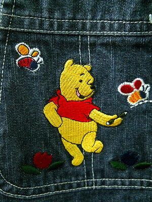 Disney Winnie The Pooh Denim Overalls Womens Med Dancing Bear Bees Flowers