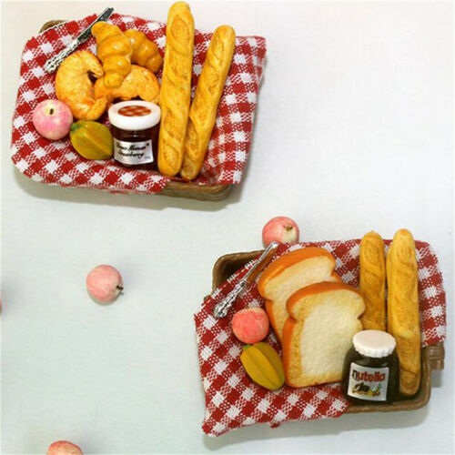 Details about  /1:12 Dollhouse Miniature Breakfast Set Bread Basket Doll House Food Accessor/_T1