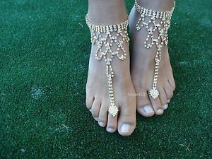 abbe49e701ba2 Image is loading GOLD-Crystal-barefoot-sandals-anklet-foot-Beach-Wedding-