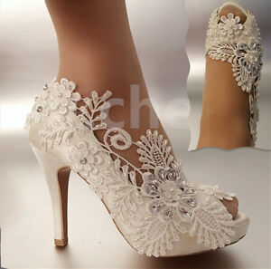 Image Is Loading 3 034 4 034 Heel Satin White Ivory
