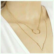 Stylish Fashion Double Layer Chain U V Shape Pendant Geometry Triangle Necklace