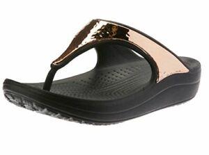 915f9ab0adb1 CROCS Women s Sandals Sloane Hammered Metal Flip Flop Black Rose ...