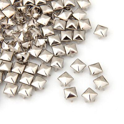 100 X Silver 6mm Leathercraft DIY Pyramid Studs Spots Spikes Rivets Punk Lots