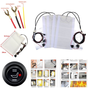 2 Seats Heated Seat Heater Kit 12V Carbon Fiber Round High//Low Switch Universal