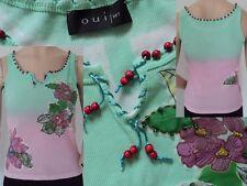 Oui Top Damen Shirt Blumenapplikation Perlen grün/rosa Pastelltöne M 38 Wie Neu