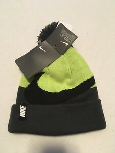 2dccc9393 Details about NWT NEW NIKE Gray Neon Knit Winter Beanie Pom Pom Hat &  Gloves Set Youth 8/20