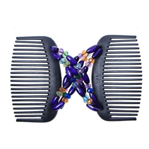 54x Women Wooden Magic Hair Combs Double Slide Clip Beads Elastic Hairpin Gifts