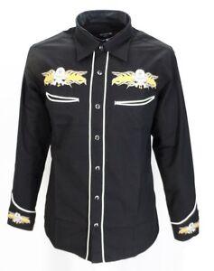 Black-Yellow-Rockabilly-Western-Cowboy-Vintage-retro-Shirts