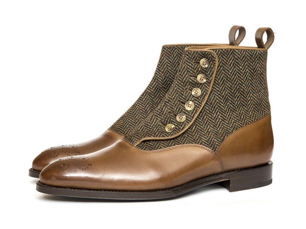 men Fatto A Mano Pelle shoes brown Chelsea Alto Caviglia Pulsante Stivali IT