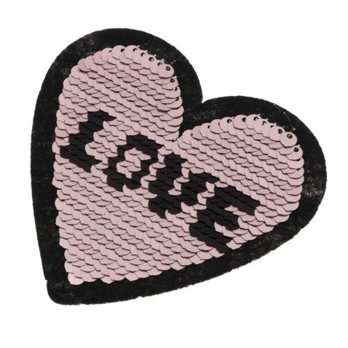 6x Pailletten Herz Nähen Applikationen Stickerei Patches Aufnäher zum
