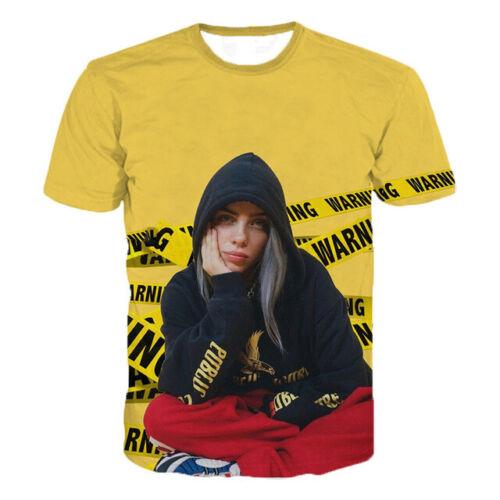 Billie Eilish POPULAIRE CHANTEUR Femmes T-shirt Hommes 3D Imprimé à manches courtes Tee Tops