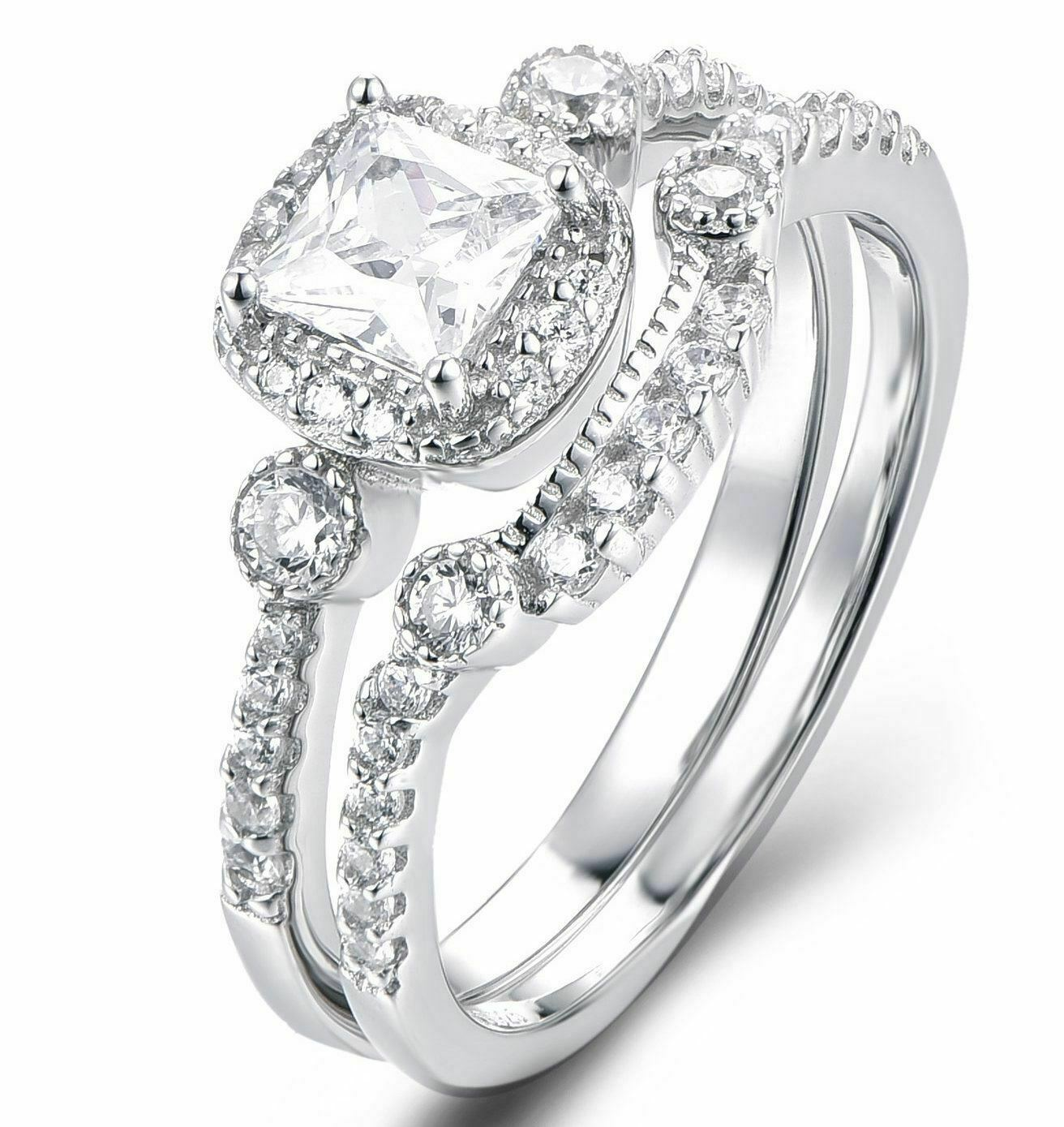 Princess Cut Diamond Wedding Bridal Set 14K White gold Finish Engagement Ring