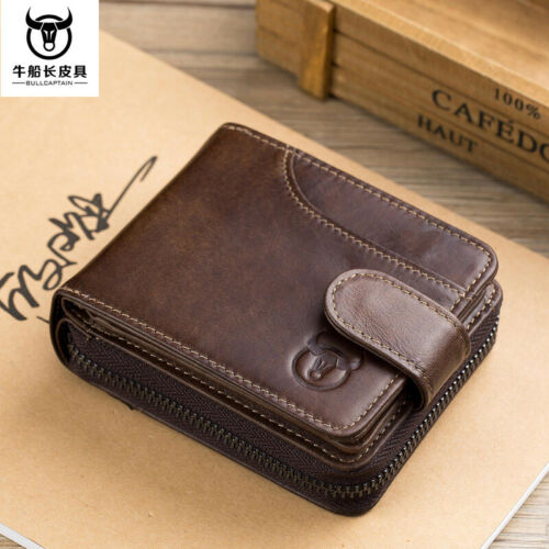 Men Wallet Genuine Leather Credit Card Holder RFID Blocking Zipper Thin PocketQU