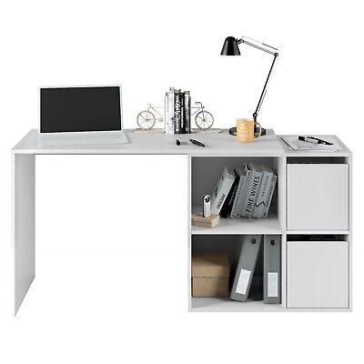 Mesa de escritorio u oficina reversible multiposicion, Blanco Artik, Adapta