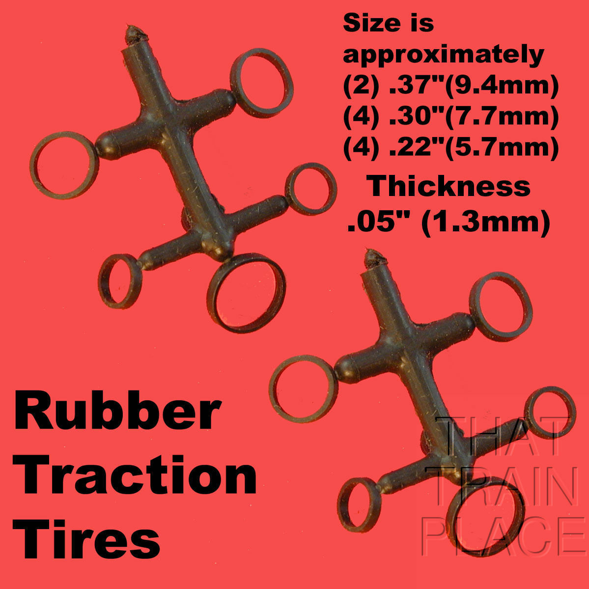 N Scale Traction Tires steam-large 9mm x 1mm XT replacements for most brands.