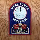 NEW Champion Spark Plugs Clock tin metal sign