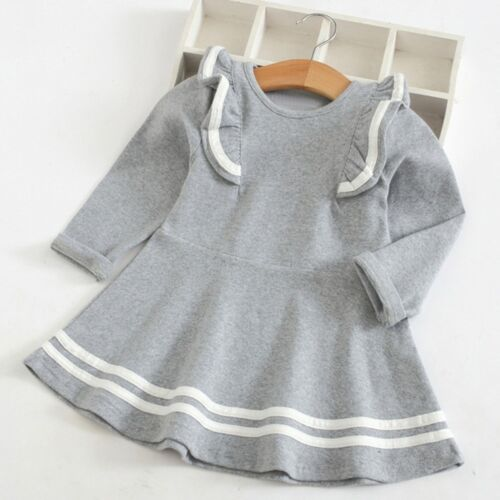 Kid Baby Girl Sweet Long Sleeve Solid Stripe Ruffles Party Princess Dress CU