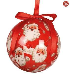 Immagini Palline Natalizie.Confezione 6 Palline Natalizie Babbo Natale Decorazione Albero Addobbi Christmas Ebay