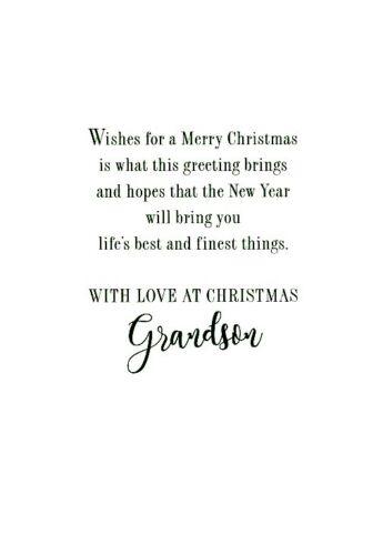 Christmas Greeting Card Merry Christmas Grandson 21325