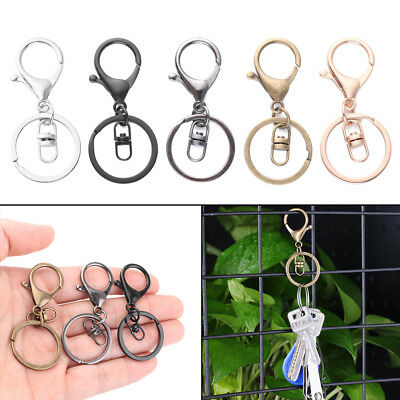 UK Seller 5pcs Round Lobster Trigger Swivel Clasps Clips Hook Key Chain Keyring