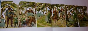 Vintage Raphael Tuck & Sons Babes In The Wood 6 Fold Cards Book 1890