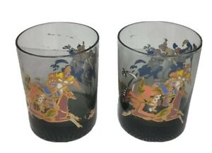 VTG-MCM-Double-Old-Fashioned-Highball-Smoke-Glasses-2-Polo-Players-Horseback