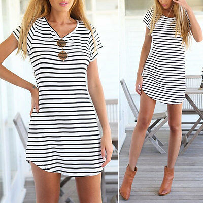 New Women Summer Beach Dress Party Short Sleeve Stripe Blouse Mini Sundress