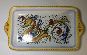 Deruta-of-Italy-Handled-Tray-Hand-Painted-amp-Signed-7-034-x4-034-Pattern-039-Raffaelesco-039
