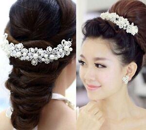 Tiara Diadem Blumen Perlen Strass Haarschmuck Kopfschmuck Braut