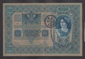 FIUME-Italy-1000-Kronen-1902-1920-VF-handstamp-CITTA-DI-FIUME