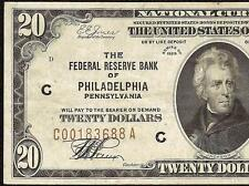 1929 $20 DOLLAR BILL FRBN BROWN SEAL FED NOTE NATIONAL CURRENCY MONEY Fr 1870-C
