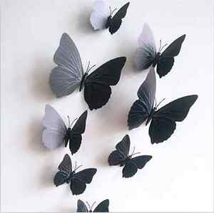 Hot-Black-12PCS-DIY-3D-Butterfly-Wall-Sticker-Decal-Home-Decor-Room-Decoration